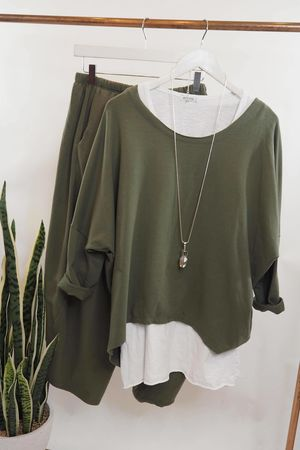 The Cocoon Relaxed Sweatshirt Khaki **