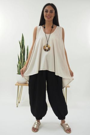 The Cupro High Low Vest Stone