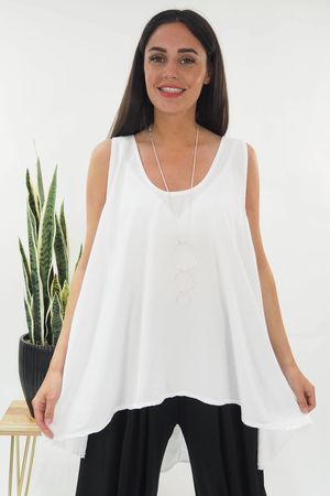 The Cupro High Low Vest White