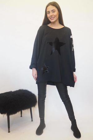 The Disc Sequin Star Sweat Black