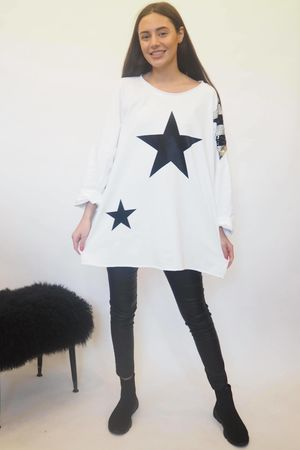 The Disco Sequin Star Sweat White