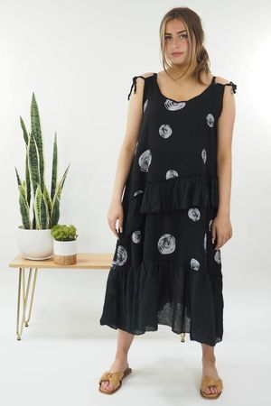 The Dotty Tie Shoulder Ruffle Dress Black