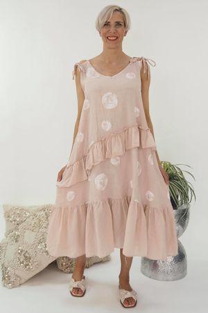 The Dotty Tie Shoulder Ruffle Dress Blush