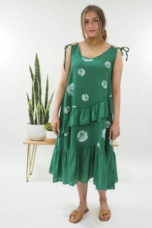 The Dotty Tie Shoulder Ruffle Dress Plant