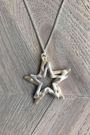 The Double Cut Out Star Necklace Silver and Gold
