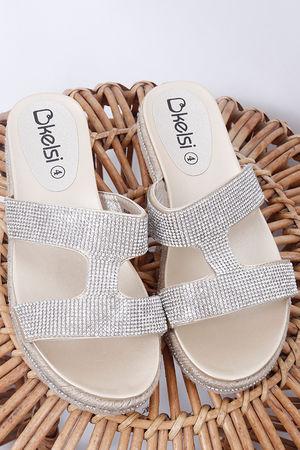 The Double Diamanté Sandal Gold