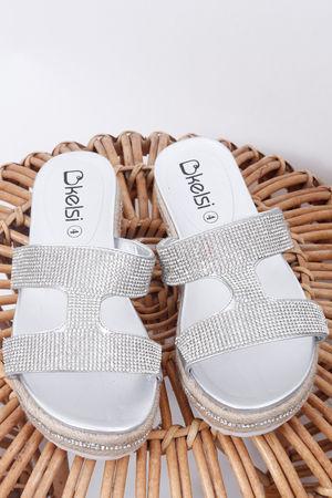 The Double Diamanté Sandal Silver