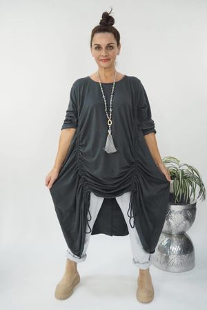 The Double Hitch Long Sleeve Dress Graphite
