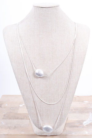 The Double Pebble Necklace Silver