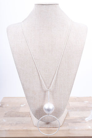 The Drop Ball & Hoop Necklace Silver