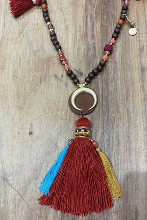The Dubai Multi Tassel Necklace Espresso