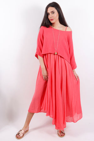 The Eivissa Two Piece Dress Coral