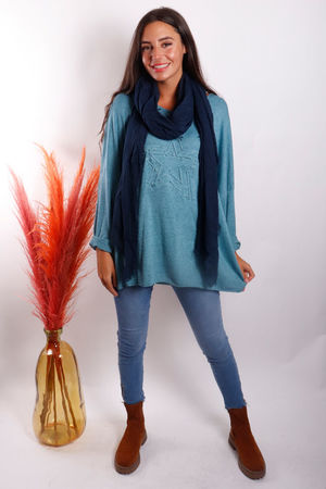 The Embossed Star Fine Knit Soft Teal