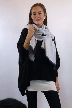 The Eve Fleur Scarf Black & White