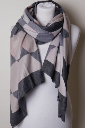 The Geo Scarf Greys & Pink