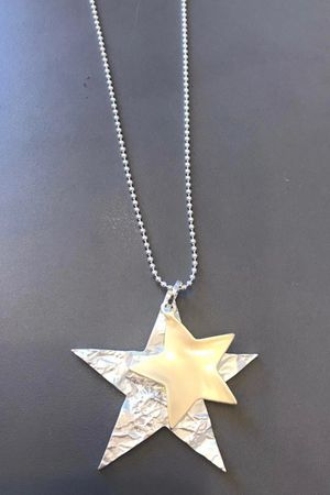 The Hammered Double Star Necklace