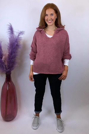 The Hoody Big Softie Knit Indian Pink