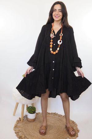 The Ibiza Dream Oversized Linen Dress Black