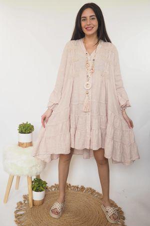 The Ibiza Dream Oversized Linen Dress Blush