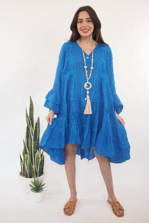 The Ibiza Dream Oversized Linen Dress Cobalt