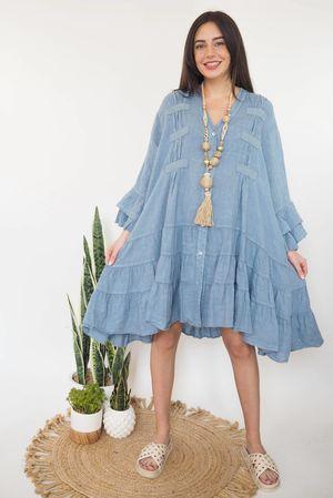 The Ibiza Dream Oversized Linen Dress Denim
