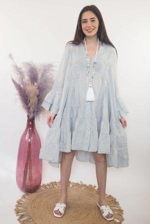 The Ibiza Dream Oversized Linen Dress Dove