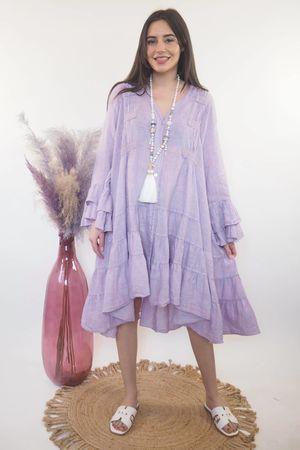 The Ibiza Dream Oversized Linen Dress Lilac