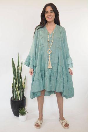 The Ibiza Dream Oversized Linen Dress Sage