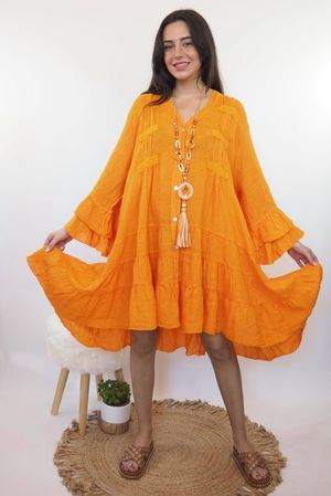 The Ibiza Dream Oversized Linen Dress Tangerine