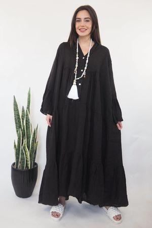 The Ibiza Dream Oversized Maxi Linen Dress Black
