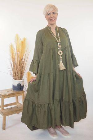 The Ibiza Dream Oversized Maxi Linen Dress Khaki