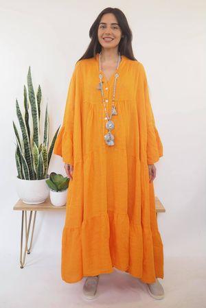 The Ibiza Dream Oversized Maxi Linen Dress Tangerine