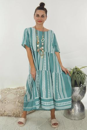 The Ikat Smock Dress Sage