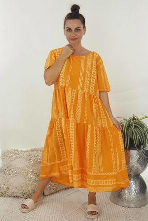 The Ikat Smock Dress Tangerine