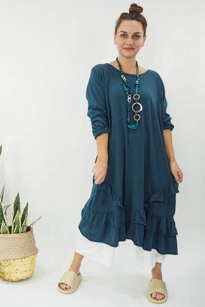 The Immy Ruffle Dress Petrol