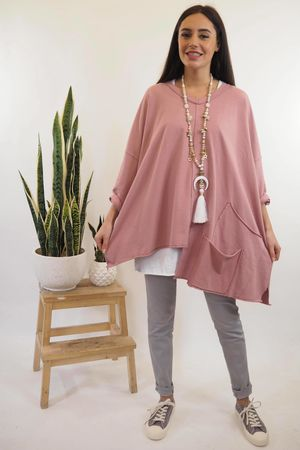 The La Poche Oversized V Sweatshirt Indian Rose