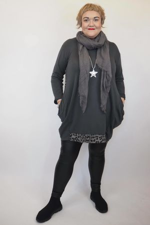 The La Sac Leopard Back Tunic Graphite