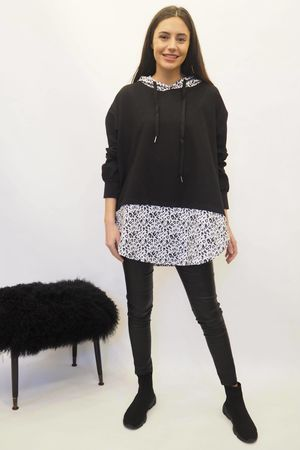The Layered Leopard Hoody Black