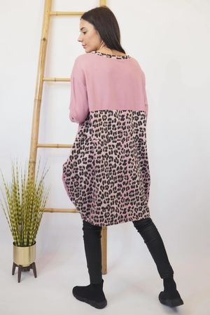 The Le Sac Leopard Back Tunic Indian Pink