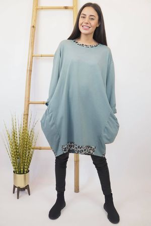 The Le Sac Leopard Back Tunic Sage