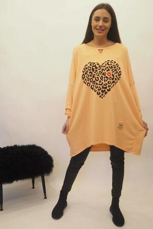 The Leopard Kiss Keyhole Sweatshirt Apricot