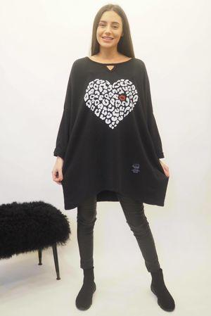 The Leopard Kiss Keyhole Sweatshirt Black