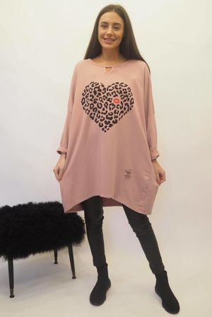 The Leopard Kiss Keyhole Sweatshirt Indian Pink