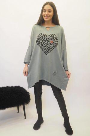 The Leopard Kiss Keyhole Sweatshirt Steel