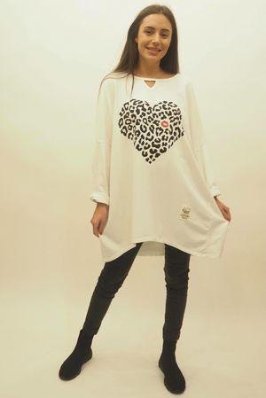 The Leopard Kiss Keyhole Sweatshirt White