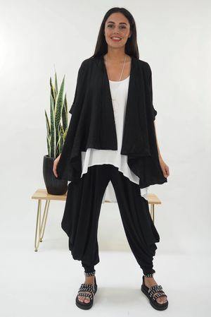 The Linen Drape Jacket Black