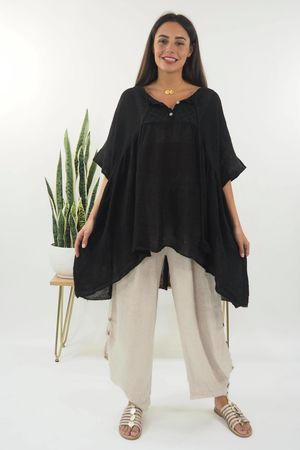 The Loire Valley Smock Top Black