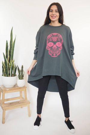 The Longline Dip Back Sugar Skull Top Graphite