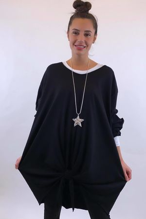 The Longline Knot Front Top Black