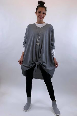 The Longline Knot Front Top Grey Marl